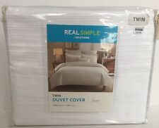 Real Simple Solutions Twin Duvet Cover Linear in White, 100% Cotton, New Duvet