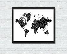 8 x 10in geometric facet black WORLD MAP modern wanderlust travel wall art print