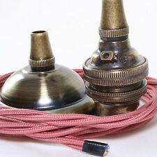 Metal Ceiling Pendant inc. Antiqued Rose, B22 Bulb Holder & Dusky Pink Flex