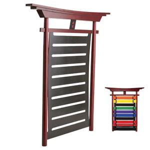 New Karate Taekwondo Budo Belt Display 10 level Wood Wall Rack Martial Arts