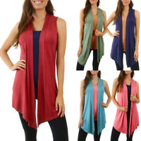 Womens Sleeveless Cardigan Vest Open Front Long Shawl Tunic Top Plus Size S M L
