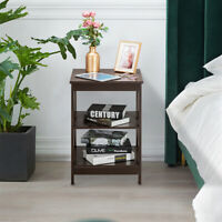 3 Tier Sofa Side Table Rustic End Table X Shape Nightstand Table for Living Room
