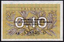 1991 LITHUANIA 0.10 TALONAS BANKNOTE * 828859 * aUNC * P-29 *