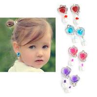 1Pair Kids Girls Heart Rhinestone No Piercing Ear Clip Earring Jewelr CRIT