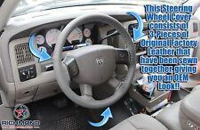 For 2007 Dodge Ram 1500 2500 SLT Laramie -Dark Gray Leather Steering Wheel Cover