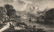 FRANCE. Yoke of Draught Oxen, on the Moselle, antique print, 1853