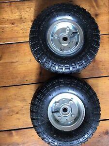 "2 x 10"" Pneumatic Sack Truck Wheelbarrow Tyres Trolley Wheel Cart"
