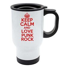 KEEP CALM AND LOVE PUNK ROCK Thermo Reisetasse rot - weiß Edelstahl