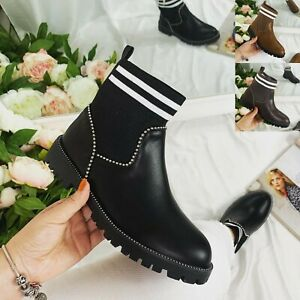LADIES WOMEN STUDDED CHELSEA ANKLE BOOTS LOW BLOCK HEEL SOCK DETAILED BOOTS SIZE