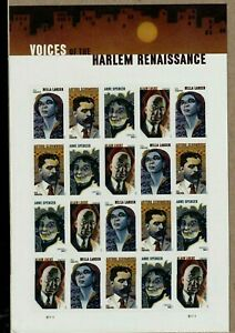 VOICES OF THE HARLEM RENAISSANCE US 2020 SCOTT #5471-5474 VF FOREVER STAMP SHEET