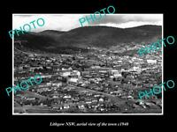 OLD LARGE HISTORIC PHOTO OF LITHGOW NSW, AERIAL VIEW OF THE TOWN c1940