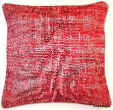 (60*60cm, 24inch) Turkish handwoven carpet cushion cover Red Overdyed #16