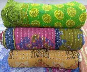 INDIAN VINTAGE WHOLESALE LOT KANTHA BLANKET THROW  HIPPY QUILT BOHEMIAN Home