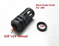 "New 308/.308 5/8""x24 Thread Bird Cage Muzzle Brake + FREE Crush Washer"