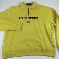 Vtg 90s Ralph Lauren Polo Sport 1/2 Zip Pullover Sweatshirt Mens XL Spellout