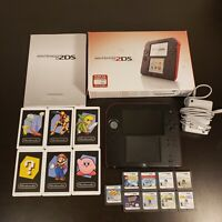 Nintendo 2DS System In Box Red with 9 Games Kid Bundle W/ Stylus + SD + Charger