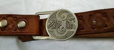 Vintage 1976 Indiana Metal Craft Aztec Western Buckle Leather Punched Belt EX8