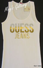 GUESS Jeans studded Glitter Tank T-shirt Tee T shirt  Top Blouse white  NWT XL