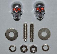 2 Pack - 3D Skull License Plate Frame Fastener Tag Bolts for Motorcycle Chrome