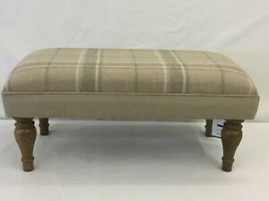 Footstool upholstered in Laura Ashley highland check natural