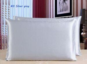 1 Piece 100%  Mulberry Silk Satin Pillowcase Healthy Queen King Pillow Case