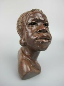 Superb vintage African Bust Head / Carving / Statue Sculpture. Marble stone.