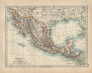 1897 VICTORIAN MAP ~ MEXICO ~ GUATEMALA HONDURAS ~ CENTRAL AMERICA