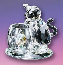 New  Crystal World Curious Cat Kitty Figurine Crystal