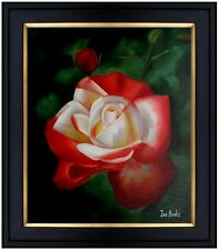 Framed, Vivid Rose with Bud, Hand Painted Oil Painting 20x24in