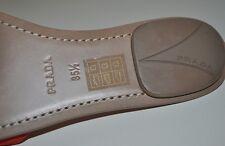 Auth NIB PRADA Bow Logo Mule Slides Sandal Suede Leather Mandarino shoe Sz 5.5