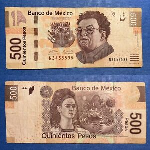 🔱Fancy Serial Number 555 Triple Frida $500 Mexican Peso Mexico P-126b.2 2010 F+