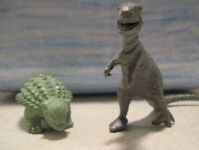 ( 2 ) Vintage Marx & MPC Dinosaurs Silver T-Rex & Light Green Ankylosaurous