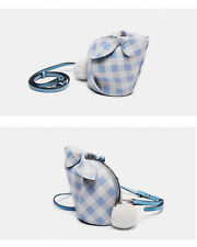 Not Loewe Gingham Mini Bunny Bag Crossbody Clutch- Blue