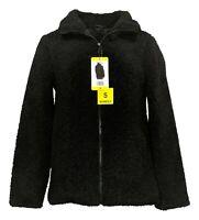 32 Degrees Heat Women's Jacket Sz S Teddy Sherpa Satin Lining High Collar Black