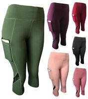 Women Compression Fitness Yoga Capri Active Leggings Gym Workout Pants Pockets #