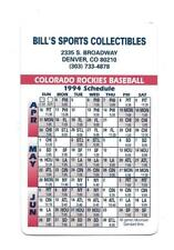 1994 Colorado Rockies Double Sided Pocket Schedule Bill's Sports Collectibles