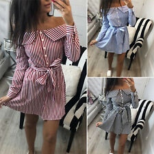 Womens Striped Off Shoulder Mini Dress Summer Belted Casual Party Shirt Dresses