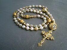 More details for rosary gemstone prayer beads crucifix necklace catholic 5 decade christian uk