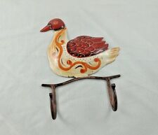 COLORFUL DUCK DESIGN PAINTED WALL IRON HAND CRAFTED HANGER 2 HOOKS