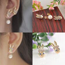 Hot Sale Cute Girls Elegant Rabbit Head with Pearl Ear Stud Earrings Jewelry New