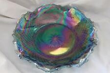 VINTAGE INDIANA GLASS  IRIDESCENT BLUE CARNIVAL GLASS RUFFLED RIM BOWL