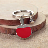 Table Tennis Ping-pong Racket Pendant Keyring Keychain Hanging Ornament Red