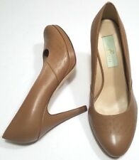 Julie Lopez Women's Comfort Shoes Pumps Heels Platform Tan Leather 8 B