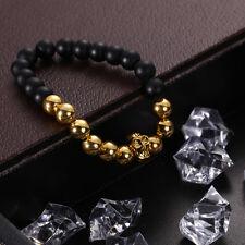 Men's Gold Skull Head Buddha Black Lava Rock Stone Beaded Bracelet Bangle New