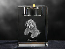 Otterhound, crystal candlestick with dog, souvenir, Crystal Animals Ca