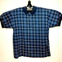 Nautica Vintage Short Sleeve Polo Shirt XL Plaid