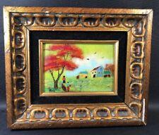 Enamel On Copper Signed Framed Art Landscape Houses People Fox (17)