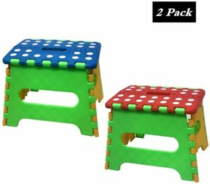 "2 Pack 7"" Collapsible Folding Plastic Kitchen Stool w/ Handle"