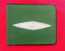 100% REAL GENUINE STINGRAY FISH SKIN GREEN LEATHER MENS BI-FOLD WALLET RAY