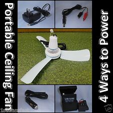 """12VOLT DC MINI 16"""" CEILING FAN CAR ADAPTER, 12V RECHARGEABLE BATTERY, & CHARGER"""